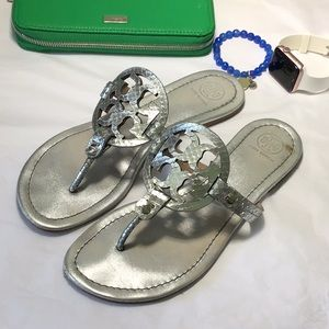 Tory Burch silver leather Sandal
